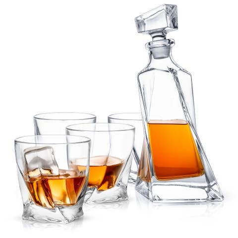JoyJolt Atlas Non-Leaded Crystal 5 Piece Whiskey Decanter Set; Scotch Decanter with 4 Old Fashioned Glasses
