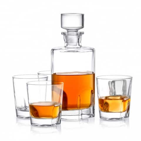 JoyJolt Carina Non-Leaded Crystal 5 Piece Whiskey Decanter Set; Scotch Decanter with 4 Old Fashioned Glasses