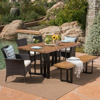 Taylor Outdoor 7 Piece Wicker Dining Set with Textured Dining Table by Christopher Knight Home