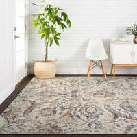 Traditional Ivory/ Rust Mosaic Floral Spray Rug - 3'7 X 5'2