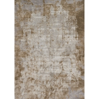 "Distressed Abstract Taupe/ Grey Textured Vintage Rug - 7'10"" x 10'10"""