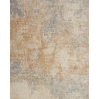 Distressed Abstract Beige/ Grey Mosaic Rug - 5' x 8'