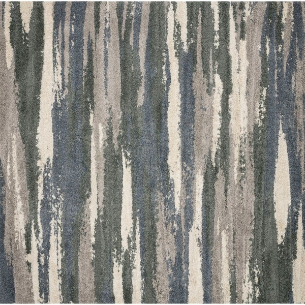 Abstract Slate/ Grey Industrial Square Shag Rug - 7'7 x 7'7