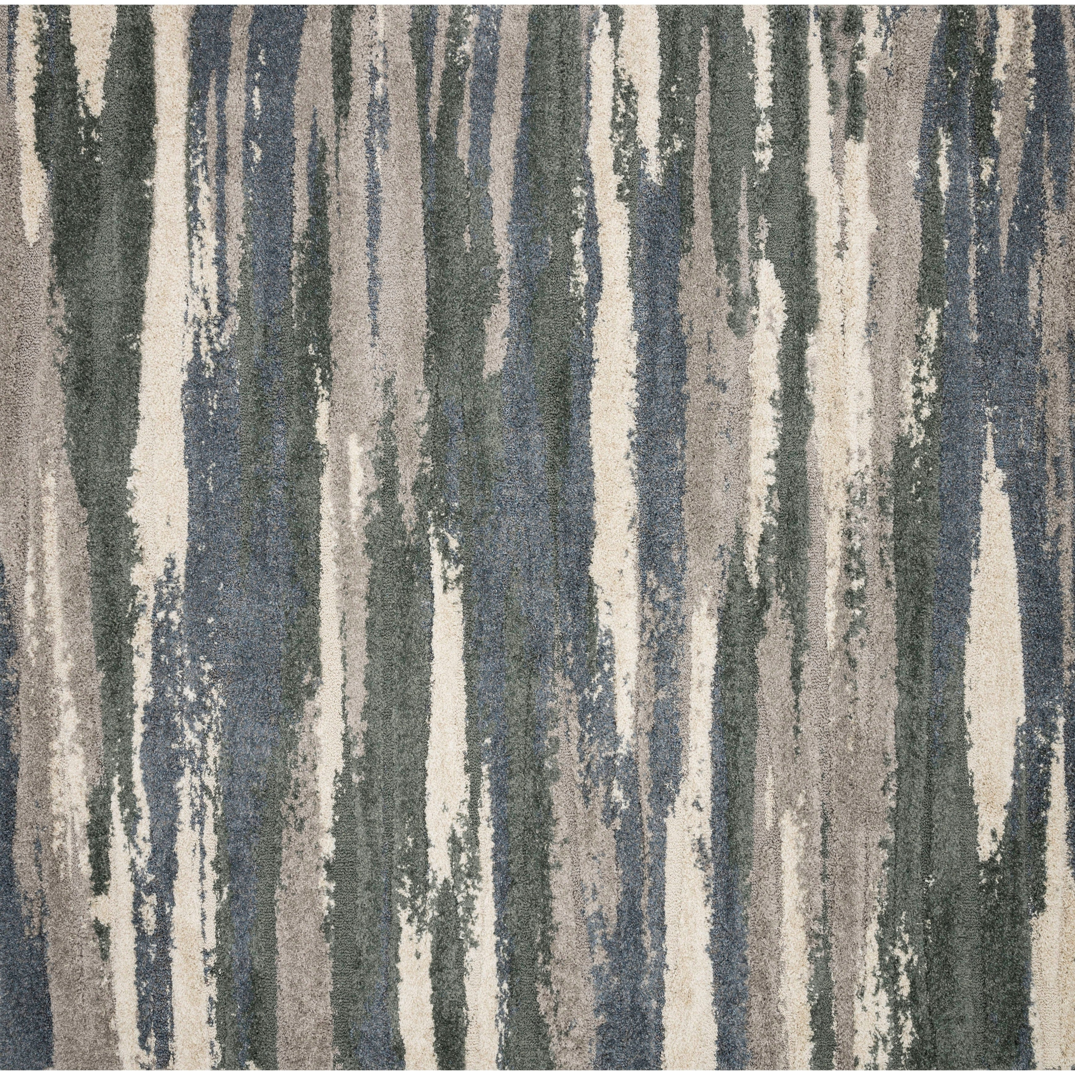 Modern Abstract Slate/ Grey Industrial Square Shag Rug - 77 x 77 Square (Multi - 77 x 77 Square)