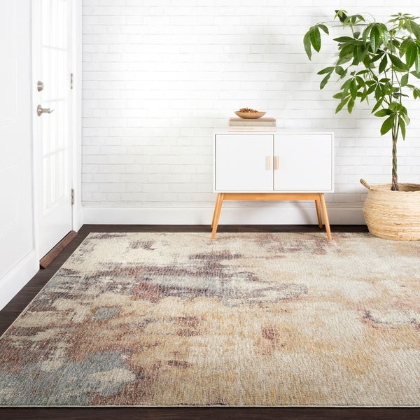 """Distressed Abstract Beige/ Plum Mosaic Rug - 3'7"""" x 5'2"""""""