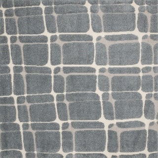 """Abstract Mid-century Slate/ Beige Square Shag Rug - 7'7"""" x 7'7"""" Square"""
