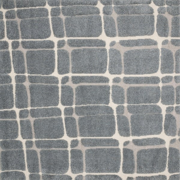 """Abstract Mid-century Slate/ Beige Square Shag Rug - 7'7"""" x 7'7"""""""