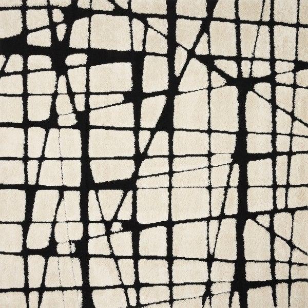 Abstract Mid-century Modern Ivory/ Black Square Shag Rug - 7'7 x 7'7