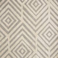 Mid-century Modern Beige/ Grey Geometric Square Shag Rug - 7'7 x 7'7