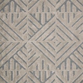 "Mid-century Modern Grey/ Taupe Geometric Square Shag Rug - 7'7"" x 7'7"" Square"