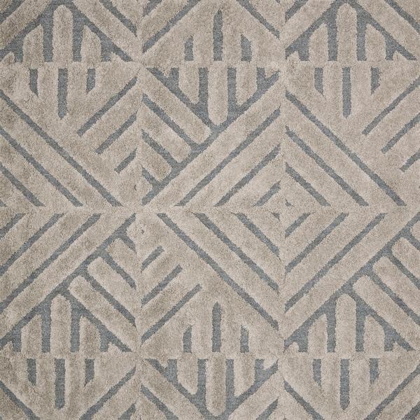 Mid-century Modern Grey/ Taupe Geometric Square Shag Rug - 7'7 x 7'7