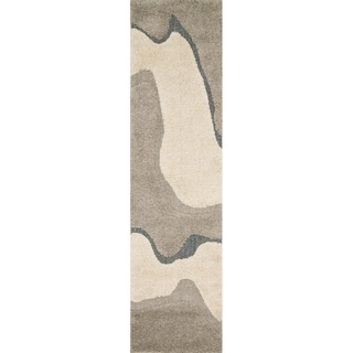 "Carson Carrington Heim Abstract Mid-century Grey/ Taupe Shag Runner Rug - 2'3"" x 12' Runner"
