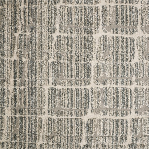 Abstract Mid-century Mist Grey/ Beige Square Shag Rug - 7'7 x 7'7