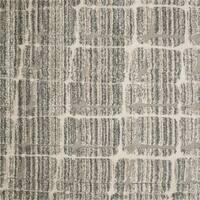 "Abstract Mid-century Mist Grey/ Beige Square Shag Rug - 7'7"" x 7'7"""
