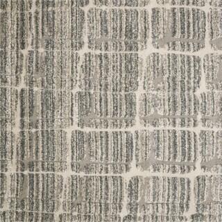 Abstract Mid-century Mist Grey/ Beige Square Shag Rug - 7'7 x 7'7