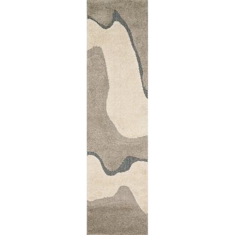 Carson Carrington Heim Abstract Mid-century Grey/ Taupe Shag Runner Rug - 2'3 x 8'