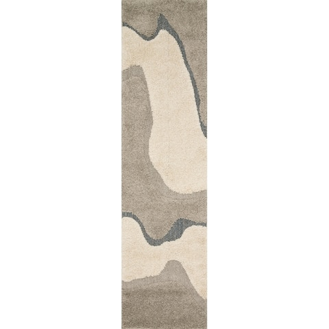 "Carson Carrington Heim Mid-Century Modern Abstract Wave Shag Rug - 2'3"" x 8' Runner"
