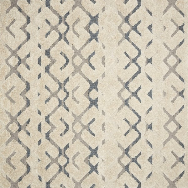 Mid-century Beige/ Grey Trellis Square Shag Rug - 7'7 x 7'7