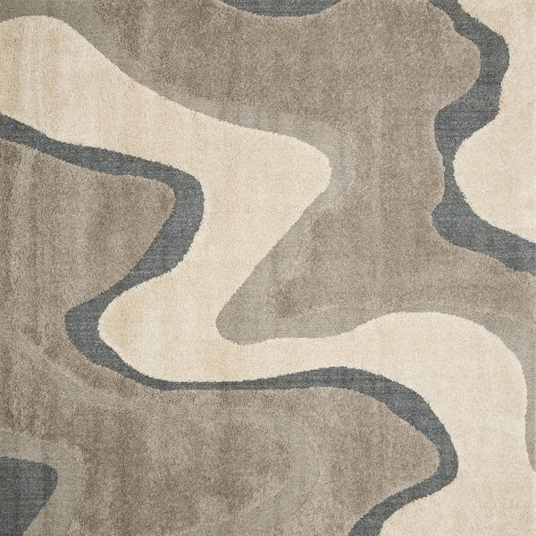 Abstract Mid-century Grey/ Taupe Square Shag Rug - 7'7 x 7'7