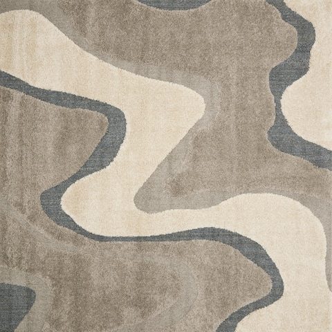 "Carson Carrington Heim Mid-Century Modern Abstract Wave Shag Rug - 7'7"" x 7'7"" Square"