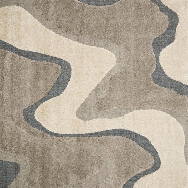 "Carson Carrington Heim Abstract Mid-century Grey/ Taupe Shag Area Rug - 7'7"" x 7'7"" Square"