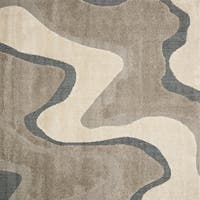 Palm Canyon Westlake Abstract Mid-century Grey/ Taupe Square Shag Area Rug - 7'7 x 7'7