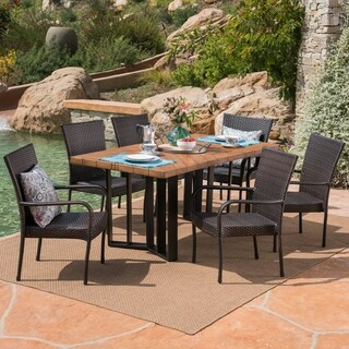 Fossili Outdoor 7 Piece Wicker Dining Set with Textured Dining Table by Christopher Knight Home