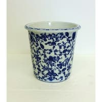 Floral Blue and White Porcelain Waste Basket / Cache Pot