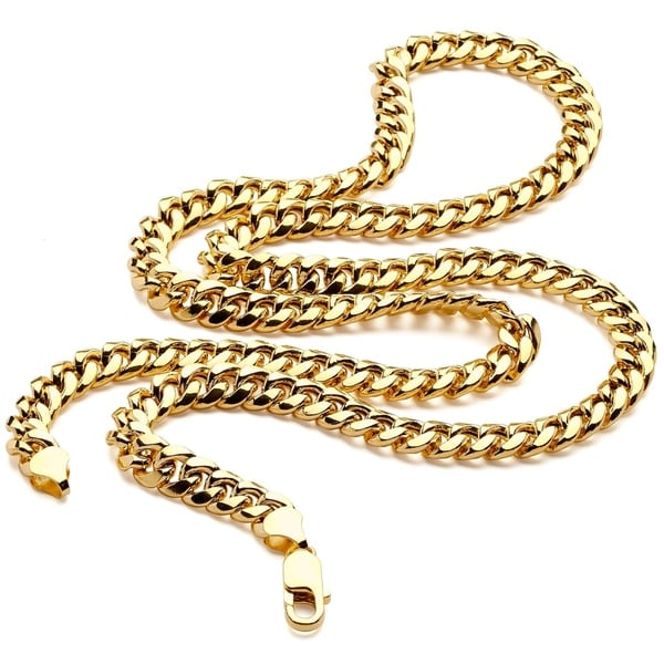 14K Yellow REAL Gold Light Miami Cuban Curb Link Chain Necklace 7.5MM Lobster Claw Clasp
