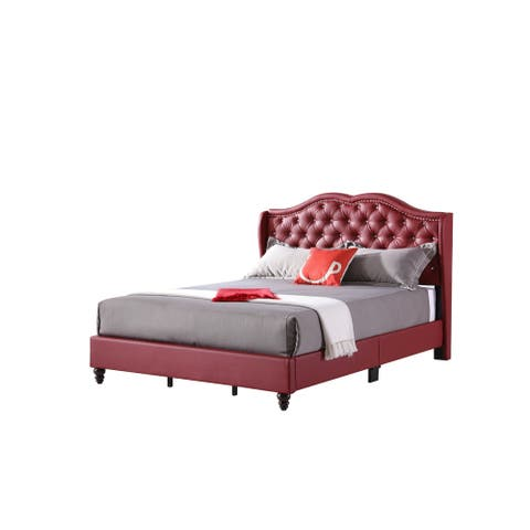 LYKE Home Red Faux Leather Queen Upholstered Bed