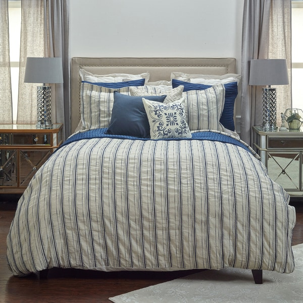 Shop Rizzy Home Vincent Iii Duvet Cover Queen Natural Indigo