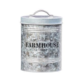 Farmhouse Galvanized Metal Storage Canister, 76 oz