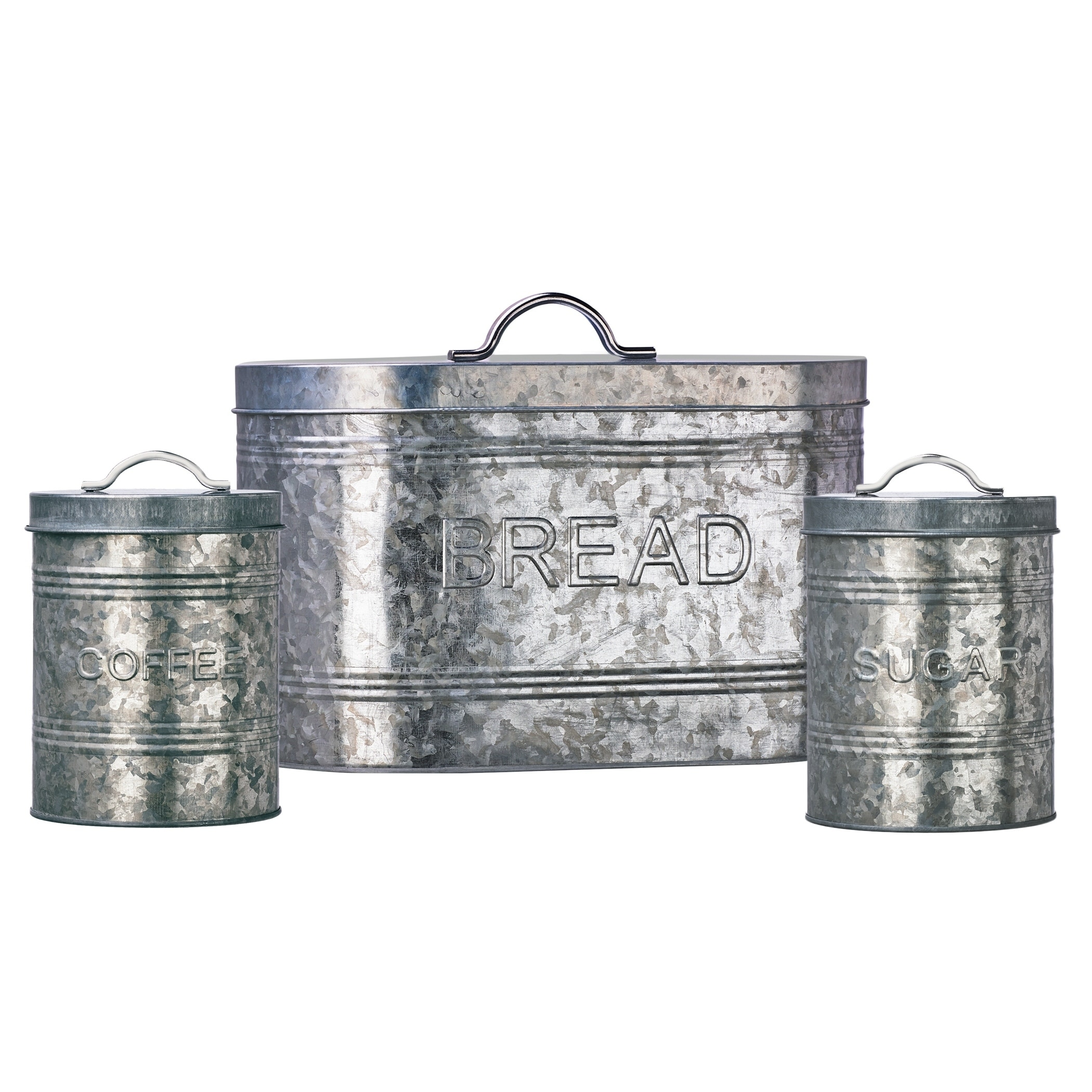 Rustic Kitchen Galvanized Metal Storage Canisters, Assorted Set of 3  (Coffee, Sugar, Bread)