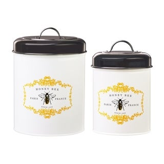 Honey Bee Storage Canisters, Assorted Set of 2