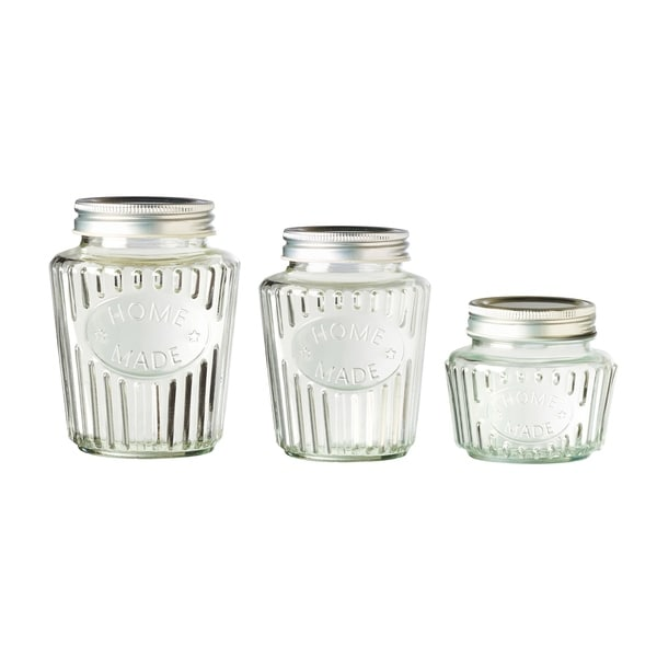 Homemade Glass Canisters, Assorted Set of 3 (Small, Medium and Large)
