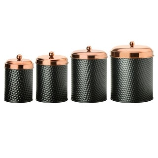 Ashby Copper Black Metal Canister, Assorted Set Of 4