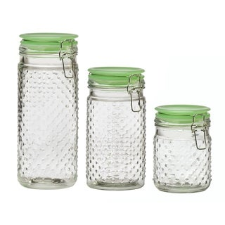 Emma Jade Hobnail Hermetic Preserving Glass Canistersm Assorted Set of 3 (Small, Medium and Large)