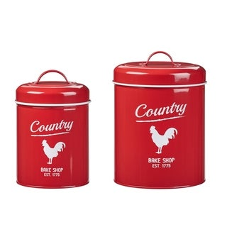 Country Rooster Storage Canisters, Assorted Set of 2