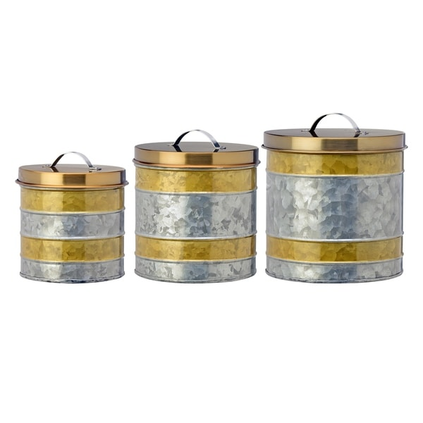 Amelia Gold Galvanized Canisters, Assorted Set of 3