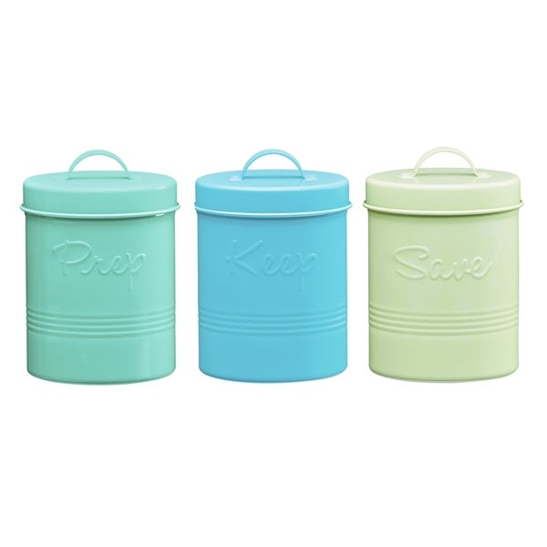 attractive Retro Metal Canisters Part - 3: Retro Fifties Metal Canisters, Assorted Set of 3 (Pear Green, Teal, Cyan