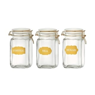 Sunrise Glass Hermetic Preserving Canisters, Assorted Set of 3, 54 oz