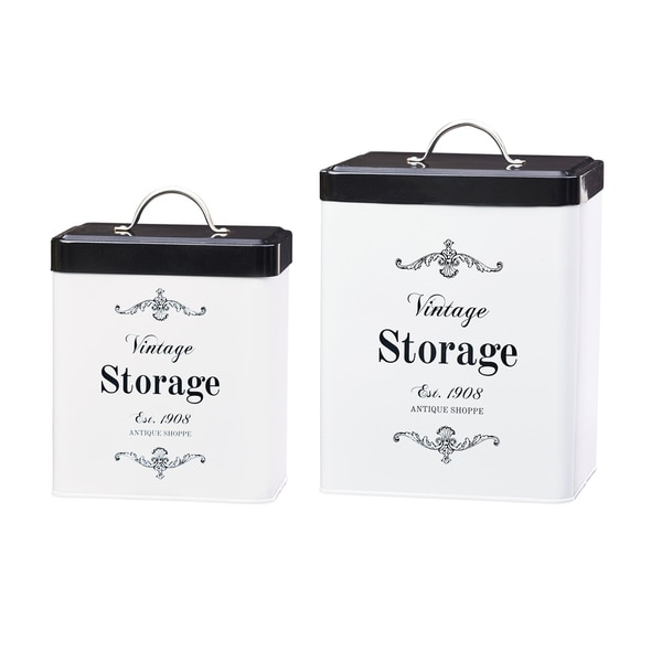 Antique Shoppe Storage Canisters, Assorted Set of 2