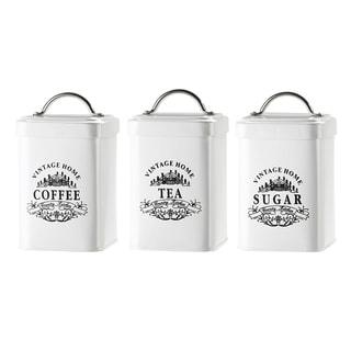Vintage Home Metal Storage Canisters, Assorted Set of 3 (Coffee, Tea, Sugar)