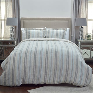 Rizzy Home Terrance Striped Duvet Cover by Rizzy Home - King - Natural /Grey
