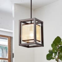 Sipafel Mini Faux Wood Grain 1-Light Metal Pendant with Fabric Inner Shade