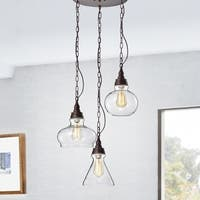 Chemister Faux Wood Grain 3-Light Chandelier with Glass Decanter Shades