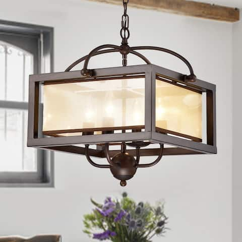 Sipafel Short Faux Wood Grain 4-Light Metal Pendant with Fabric Inner Shade