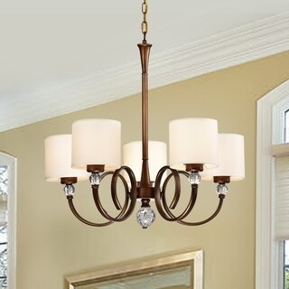 Zario Copper Painted 5-Light Chandelier with Shaded Lamps