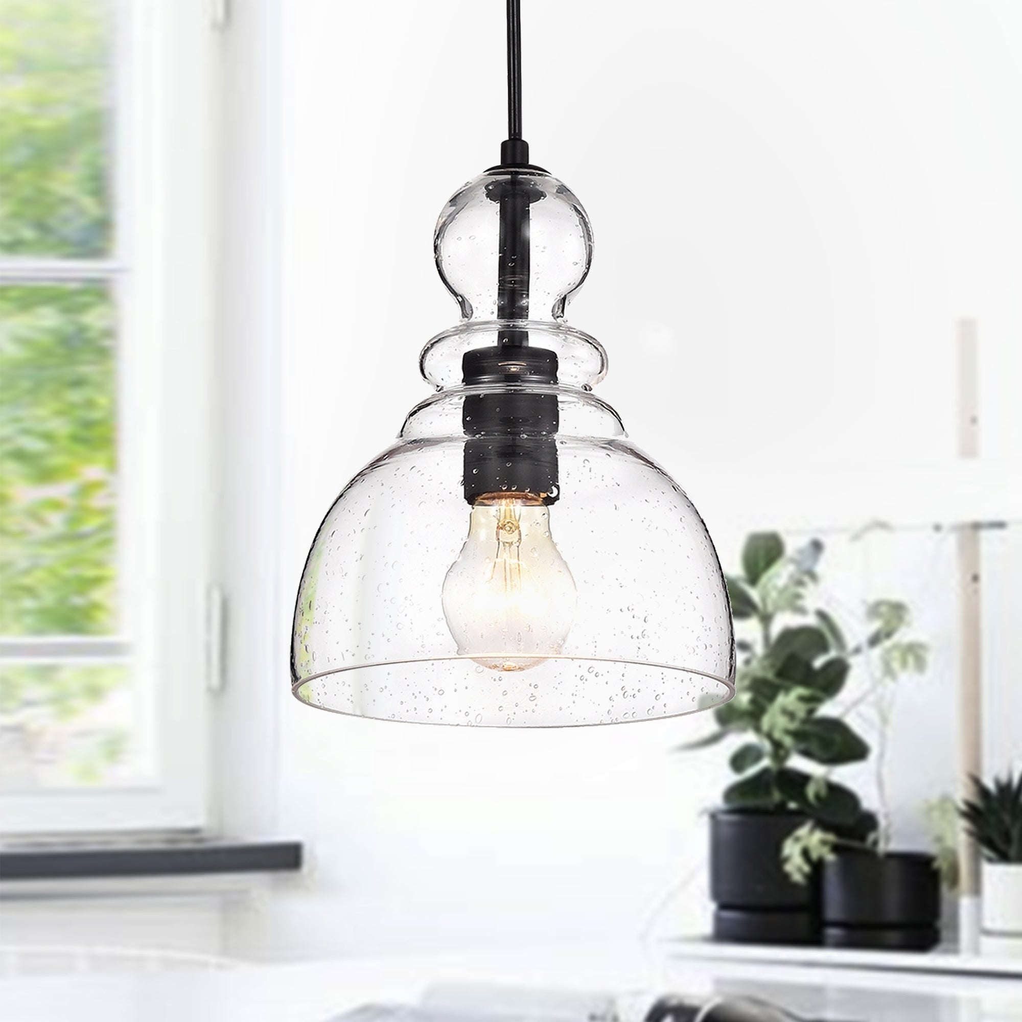 Nefelt Matte Black 1 Light Decanter Seeded Gl Pendant