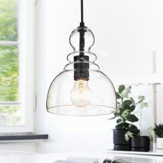 Modern contemporary pendant lighting Contemporary Style Nefelt Matte Black 1light Decanter Seeded Glass Pendant Overstock Buy Modern Contemporary Pendant Lighting Online At Overstockcom